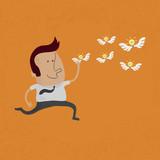 happy man hunting flying ideas  , eps10 vector format