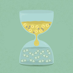 Idea transform to money through the hourglass , eps10 vector for