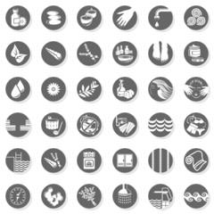 spa sauna relaks szare okrągłe ikony zestaw na białym tle