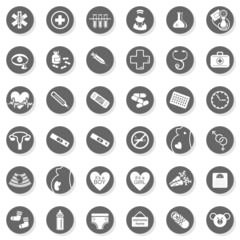 medycyna zdrowie ciąża szary okrągły zestaw ikon na białym tle