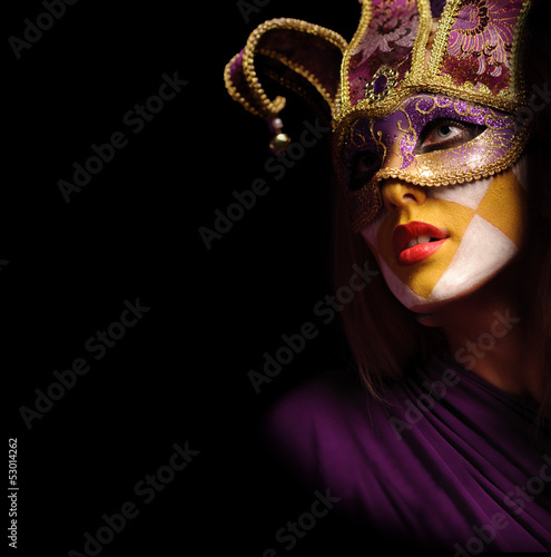 portrait of sexy woman in violet party mask - 53014262