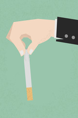 Stop smoking, human hands breaking the cigarette  , eps10 vector