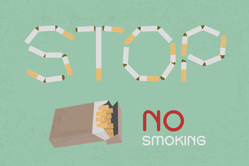 Word Stop made of cigaret stubs , eps10 vector format