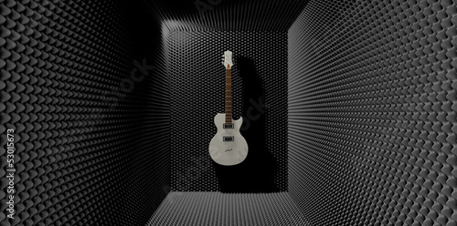 Acoustic Foam Room With Mounted Electric Guitar - 53015673