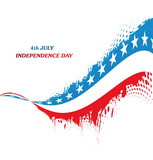 4th july american independence grunge wave white background vect