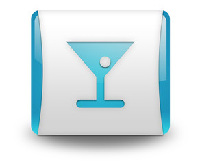 "Light Blue 3D Effect Icon ""Bar / Cocktail"""