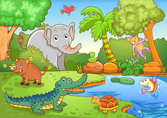 animals in forest.