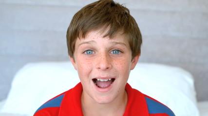 Blue eyed boy get surprised