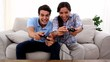 Couple playing at video game