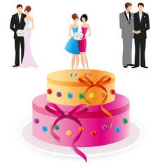 Gâteau de mariage couples interchangeables-4
