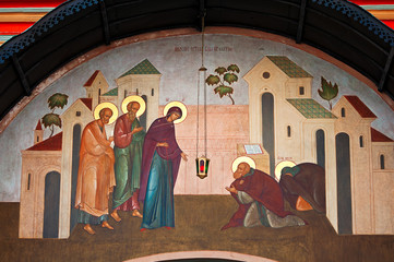 painted wall at the entrance to the Trinity Lavra of St Sergius