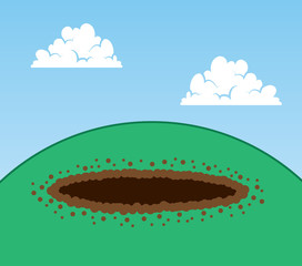 Dug hole on top of a hill