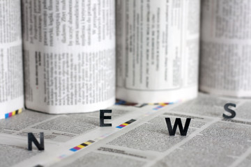 News letters on newspapers with blurred background concept