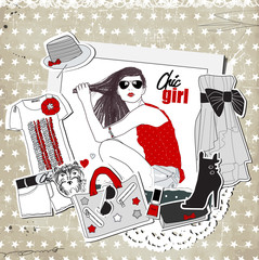 Scrap vintage fashion template with girl and trendy clothes