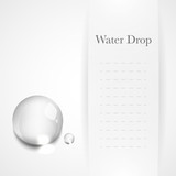 Transparent water drop on light gray background poster