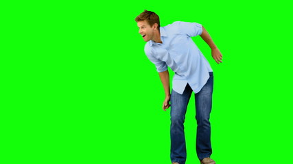Man skating on green screen