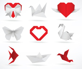 Origami animals & love symbols