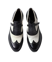 Ostrich skin oxford brogue bicolor belted female shoes