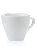 empty ceramic cup on white