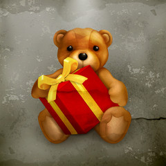 Teddy bear with gift, old style
