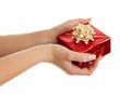Women's hands giving a gift.