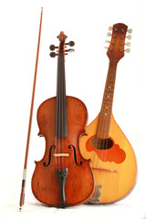 Antique violin and dombra