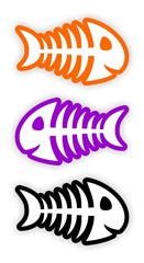 set of color fish bone stickers