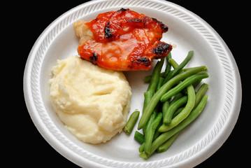 Healthy Chicken Dinner Over Black