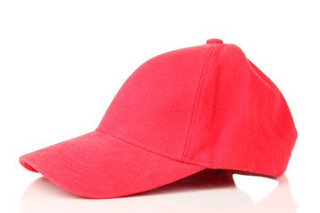 Red peaked cap isolated on white