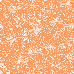 Vector Orange and white lineart flowers seamless pattern