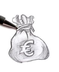 sac d'argent dessiné
