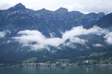 lakeside apline village swiss alps