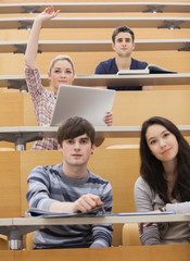 Participating students in a lecture hall