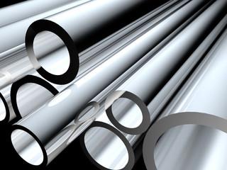 3D metal tubes - high technology background.