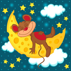 mouse sleeping on the moon in the form of cheese