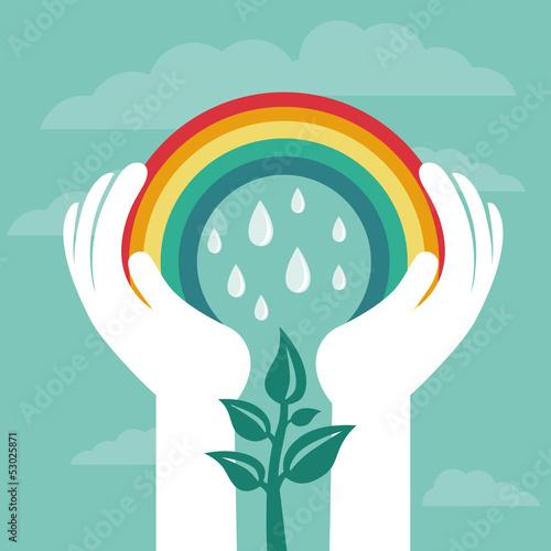 Vector creative concept with rainbow