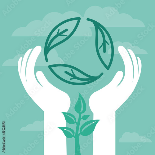 Vector recycle emblem with human hands