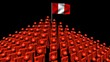 pyramid of men with rippling Peruvian flag animation