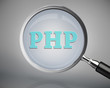 Magnifying glass showing php word