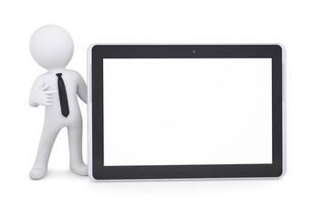 3d white man points a finger at a tablet PC