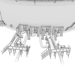 Oil tank rendering in lines