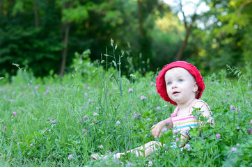 cute little girl sitting in the green field