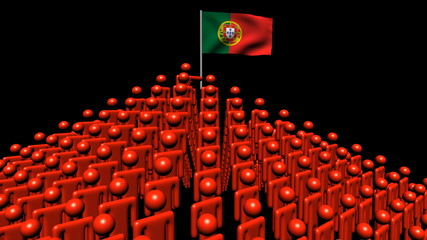pyramid of men with rippling Portugal flag animation