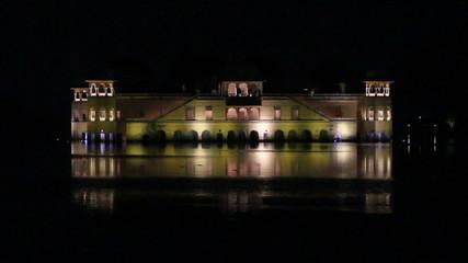 jal mahal palace on lake in Jaipur India at night