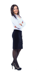 Business woman standing in full length isolated