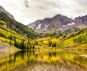 Mountain lake landscape on a cloudy day.