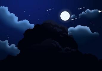 cartoon night starry sky with full moon