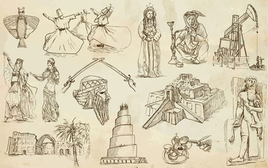 Middle East collection - hand drawings into vector set