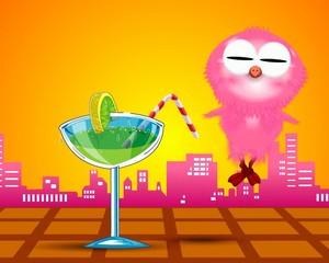 animation of cute cartoon pnk bird
