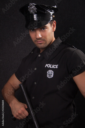 Policeman in studio